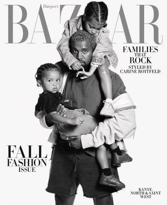 When she starred in the cover of Harper's Bazaar magazine alongside her dad Kanye West and baby brother Saint. (Photo: Instagram)