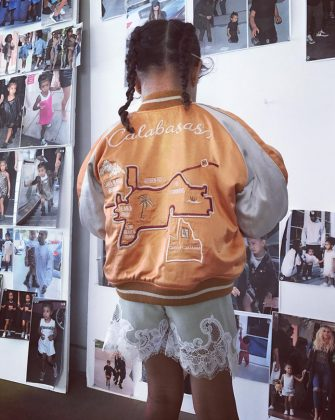 When the eldest West child rocked a $240 Calabasas-themed bomber jacket from her parent's kids clothing line. (Photo: Instagram)