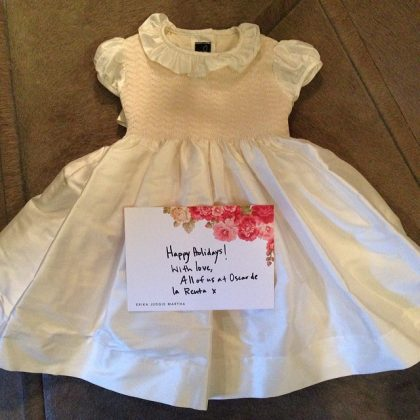 When Oscar de la Renta sent a then-1-year-old Northie a custom-made dress to celebrate her birthday. (Photo: Instagram)