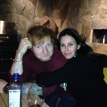 """Friends"" star Courteney Cox and Ed Sheera became friends in 2013. Sheeran began living in Courteneye's Malibe beach house for three months rent-free. He then introduced Cox to her fiancée Jonny McDaid. A fair exchange! (Photo: Instagram)"