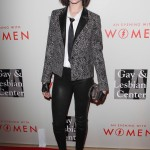 "The singer/actress cut and edgy figure in a snakeskin blazer, leather plants, white button down and black tie at the 2014 ""Evening with Women"" event. (Photo: WENN)"