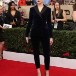 Evan Rachel meant business when she stepped out onto the red carpet at the 2017 SAG Awards wearing a blue velvet pant suit by Altuzarra. (Photo: WENN)