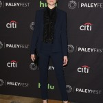The 31-year-old actress attended the Media's 34th Annual Paley Fest donning a custom navy suit from Roberto Cavalli paired with a black ruffled button-up shirt. (Photo: WENN)