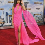 "Zendaya slayed the ""Spider-Man: Homecoming"" red carpet in a Barbie-inspired hot pink chiffon gown complete with its own cape. (Photo: WENN)"