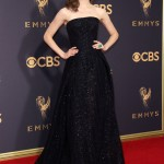 "The ""Shameless"" actress looked simply stunning sporting a sparkly Zac Posen black strapless gown at the 2017 Emmys red carpet. (Photo: WENN)"