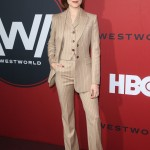 "Evan Rachel Wood stunned in a beige three-piece Altuzarra suit with vertical stripes as she walked down the red carpet of ""Westworld"" Season 2 premiere. (Photo: WENN)"