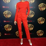 "Zendaya promoted her new movie ""Smallfoot"" at CinemaCon2018 cutting a chic figure in a tight red sweater and tailored matching slacks. (Photo: WENN)"