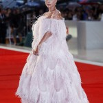 """Lady Gaga stunned at the """"A Star Is Born"""" screening in a full-length pink feathered ball gown designed by Valentino. (Photo: WENN)"""