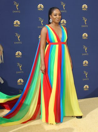 Tiffany Haddish's Prabal Gurung colorful rainbow dress intended to reflect the colors of the Eritrean flag, but instead it had us remembering our playground days. (Photo: WENN)