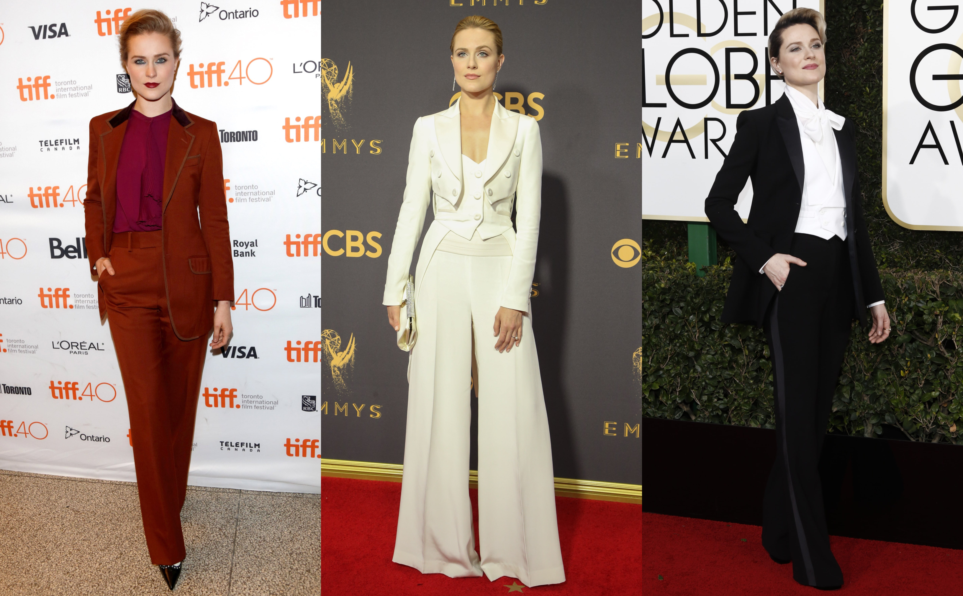 No night gown can compete with Evan Rachel Wood's epic suit game every time she walks down the red carpet. (Photo: WENN)
