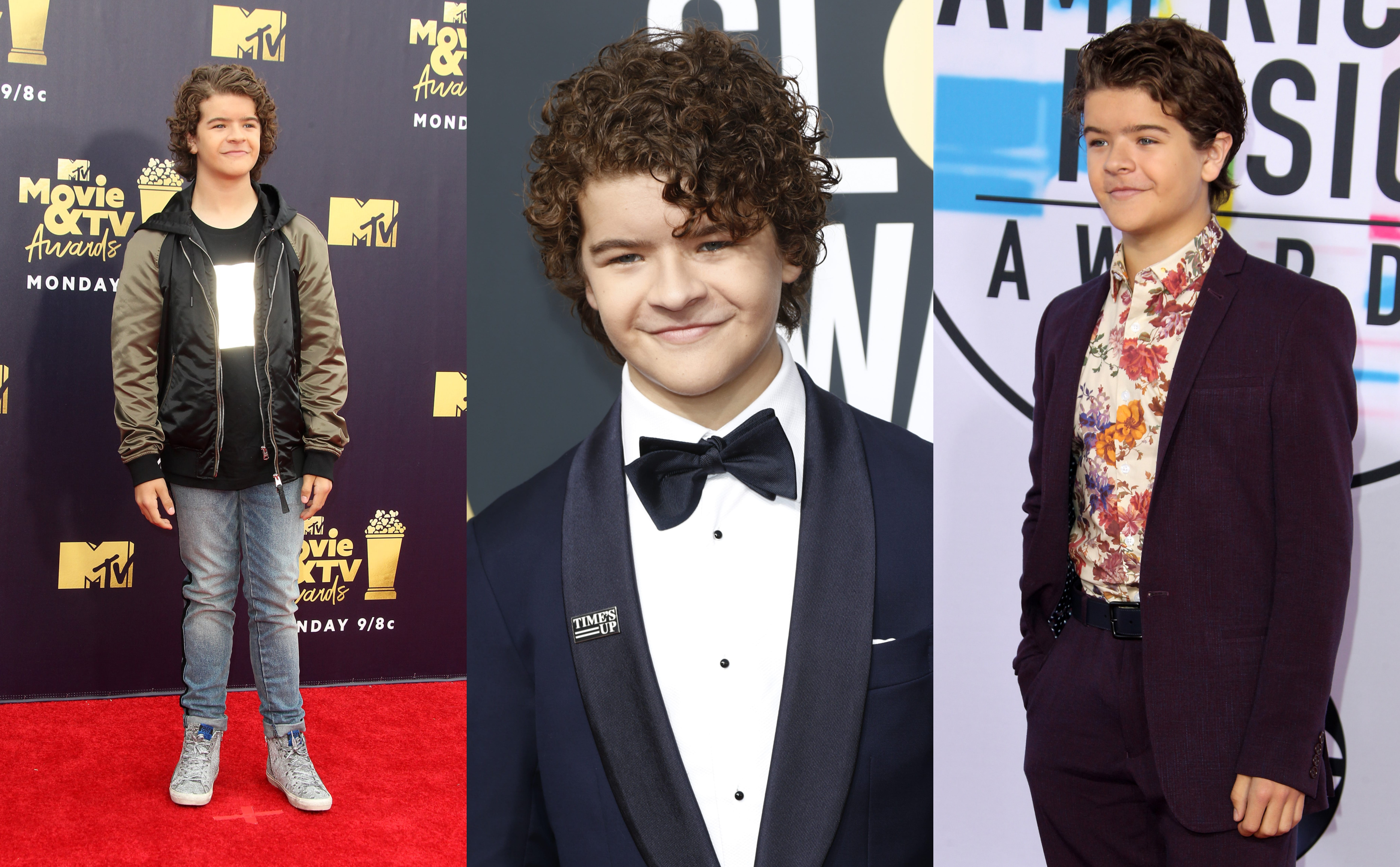 Here's a look back at 10 times Gaten Matarazzo turned the red carpet upside down with his bold floral prints, quirky colorful suits, and his iconic curly mane. (Photo: WENN)
