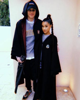 Gryffindor vs. Slytherin! Pete shared a picture with Ariana revealing their Hogwarts Houses. (Photo: Instagram)