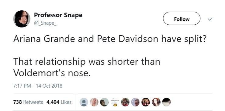 This is highly appropriate given that picture of Ariana and Pete wearing the Hogwarts robes. (Photo: Twitter)