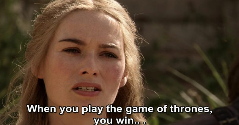 "When Cersei effectively summed up the entire series in a conversation with Ned Stark. ""When you play the game of thrones, you win or you die."" Of course, that phrase meant poor Ned was about to die. (Photo: Release)"