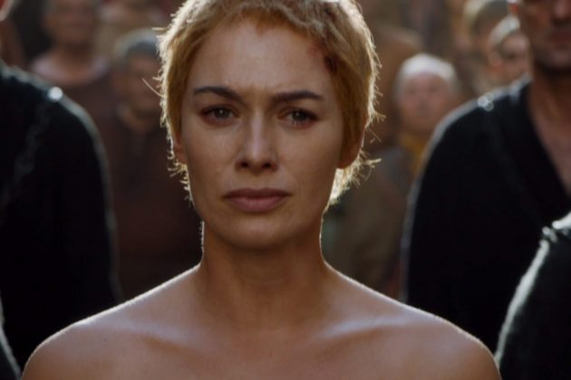 "When Cersei is humiliated and made to walk naked through the streets of King's Landing to the repetitive ""SHAME"" chants. Perhaps the one scene in Game of Thrones that made most views smile even though we knew it would backfire. (Photo: Release)"