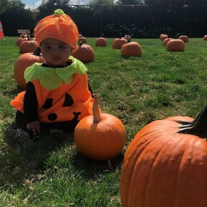 Pink's son Jameson pointed out a pumpkin for his older sister Willow Sage to grab from the comfort of a wagon. (Photo: Instagram)