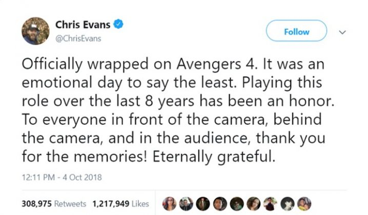 Chris Evans had Twitter all in an uproar when he appeared to be bidding farewell to his iconic role as Captain America. (Photo: Twitter)