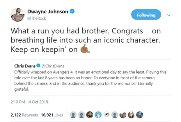 Chris even received some love from his fellow celebrities, including Dwayne Johnson. (Photo: Twitter)