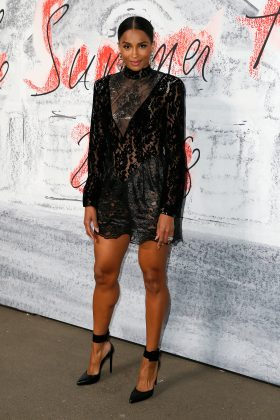 Ciara put her own spin at the classic little black dress when she arrived at Serpentine's summer party wearing a sexy lacy black dress by Christopher Kanee. (Photo: WENN)
