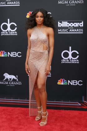 Ciara left little to the imagination in a super sparkly, super naked silver dress at the 2018 Billboard Music Awards. (Photo: WENN)