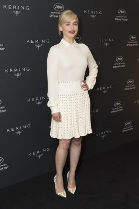 The actress wore a pointed collar shirt and pleated skirt, all rendered in a crisp white, at the Kering Women in Motion event during Cannes Film Festival. (Photo: WENN)