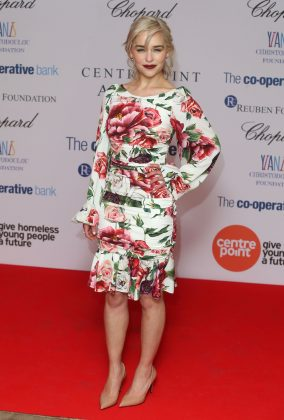 "The ""Game of Thrones"" star stole the show when she attended the Centrepoint awards wearing a floral dress with a nipped in wait and on-trend bell sleeves. (Photo: WENN)"