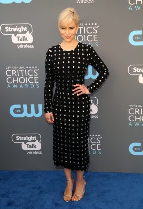Clarke looked sensational in a dazzling, figure-hugging beaded black midi dress at the 2018 Critics' Choice Awards. (Photo: WENN)