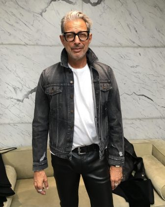 Just Jeff Goldblum breaking the internet with a pair of leather trousers. (Photo: Instagram)