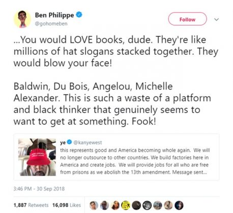 "Screenwriter Ben Philippe gave Kanye a piece of advice. ""You would LOVE books, dude."" (Photo: Twitter)"