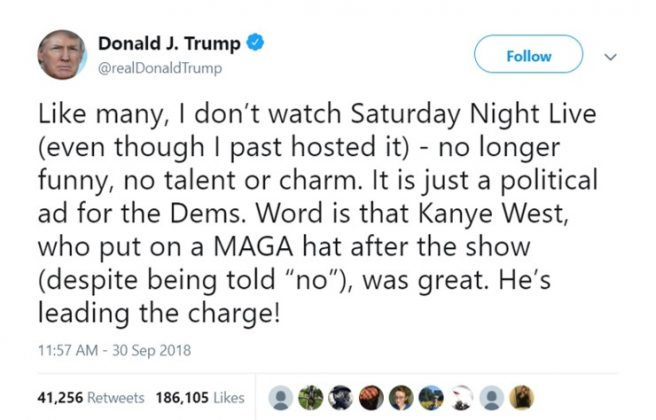 As expected, Donald Trump was the only celebrity who celebrated Kanye's comments. (Photo: Twitter)