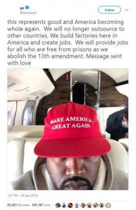 "Kanye West took to social media to send a message ""with love,"" suggesting the abolishment of the 13th amendment in a picture of himself wearing a MAGA hat. (Photo: Twitter)"