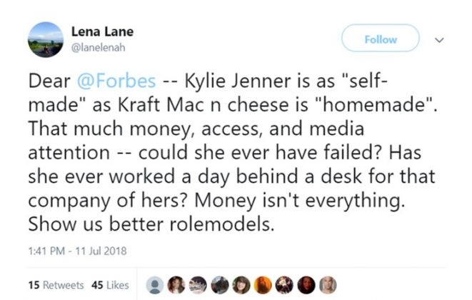 "The term ""self-made"", however, was widely disputed on social media. (Photo: Twitter)"