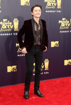 Schnapp wore a daring look to the 2018 MTV Movie & TV Awards, consisting of a sheer button-up paired with an awesome burgundy, velvet Saint Laurent dinner jacket. (Photo: WENN)