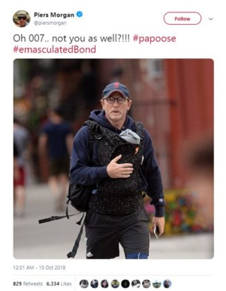 Piers Morgan mocked Daniel Craig's baby papoose and Twitter gave him a lesson on proper manhood. (Photo: Twitter)