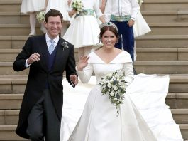 Princess Eugenie's breathtaking wedding gown designed by Peter Pilotto featured a lower back that proudly showed off her scar from scoliosis surgery. (Photo: WENN)