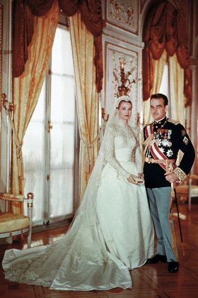 Grace Kelly wore a dress gifted to her by MGM Studios and designed by costume designer Helen Rose. She wed Rainier III, Prince of Monaco in 1956. (Photo: WENN)