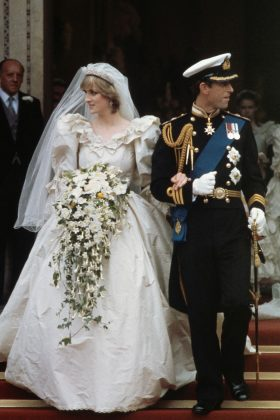 On 1981, Lady Diana wed Prince Charles. David and Elizabeth Emanuel created the grand dress, which featured 10,000 pearls and a 25-foot-long train. (Photo: WENN)