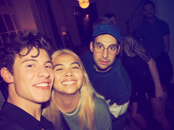 Shawn Mendes, Hayley Kiyoko and Jack Antonoff posing for a cheeky photo at the star-studded event. (Photo: Instagram)