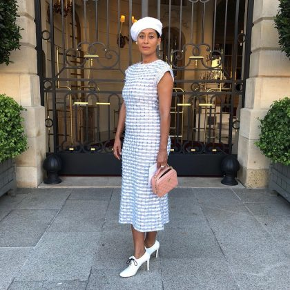 Tracee channeling her inner Parisienne in an all-white outfit. (Photo: Instagram)