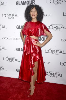 Ross graced the red carpet at the 2017 Glamour Women of the Year Awards in a stunning fashion forward Prabal Gurung red dress with side cutouts. (Photo: WENN)