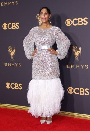 "The ""Black-ish"" made a fashion statement at the 2017 Emmys in a Chanel Couture silver tulle number that ended in a waterfall of feathers. (Photo: WENN)"