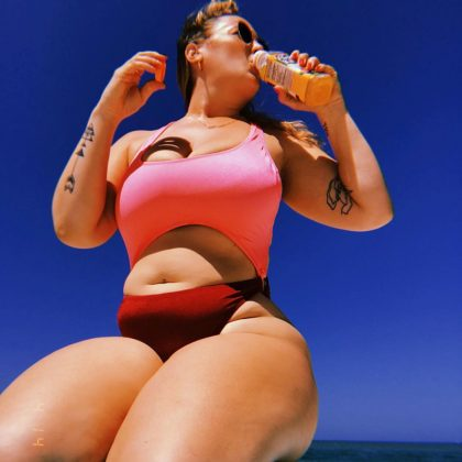 Ashley is a body positivity warrior. With every Instagram post, she shows she's no embarrassed to be natural woman with stretch marks or cellulite. (Photo: Instagram)