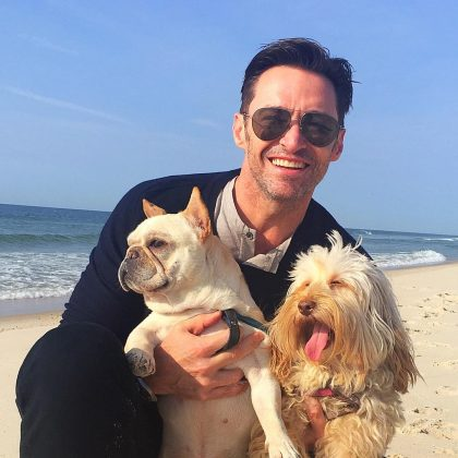He loves dogs. Hugh Jackman has two adorable pooches, Dali and Allegra. Needless to say, Hugh's pictures with his cute, fluffy doggies are some of our all-time favorites. (Except for his shirt-less snaps, of course.) (Photo: WENN)