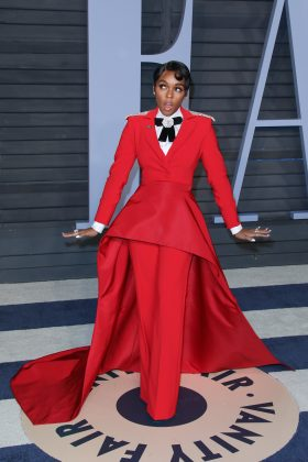 Janelle Monae making a fashion statement at the 2018 Vanity Fair Oscars Party. (Photo: WENN)