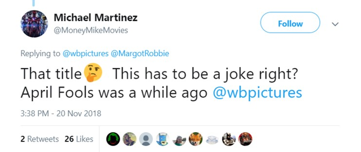 We all thought it was Margot Robbie being cute until we saw the tweet from Warner Brothers. (Photo: Twitter)