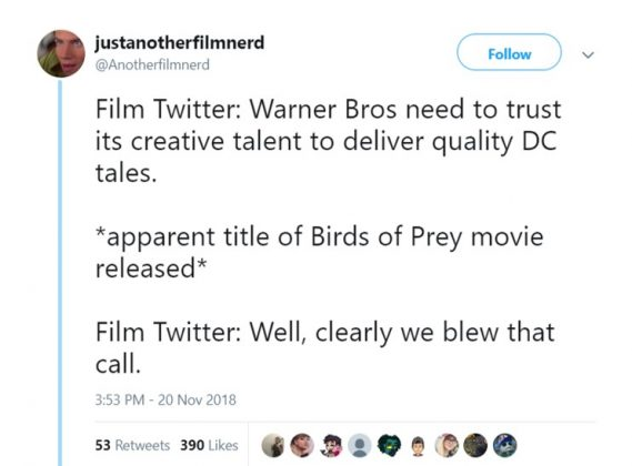 Film Twitter is big on creative freedom until said freedom results in, well, this. (Photo: Twitter)