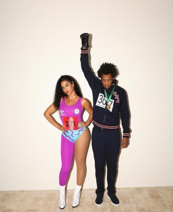 Beyoncé and Jay Z dressed as track stars of yesteryear. (Photo: Instagram)