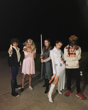 "Millie Bobby Brown and her ""Stranger Things"" friends in their Halloween costumes. (Photo: Instagram)"