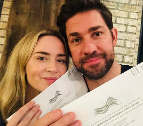 Emily Blunt and John Krasinski and Emily Blunt also showed off their ballots in a couple selfie. (Photo: Instagram)