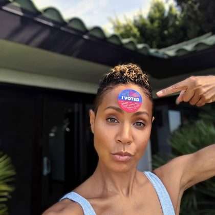 "Jada Pinkett Smith look even more beautiful with her ""I vote"" sticker stamped right in her forehead. (Photo: Instagram)"